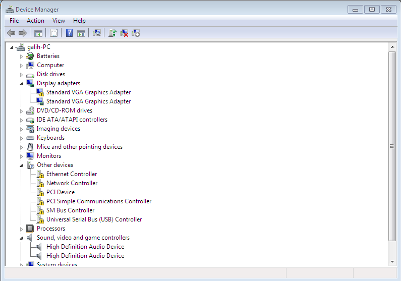 driver asus x452c device manager sebelum instal driver