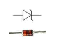simbol dan bentuk fisik dioda zener