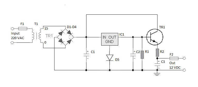 rangkaian adaptor 12 volt 3 ampere